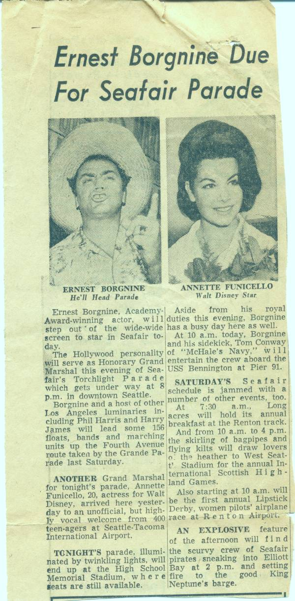News - Annette Funicello and Ernest Borgnine