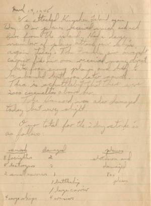 James F Brady WWII Log Book 19 Mar 1945