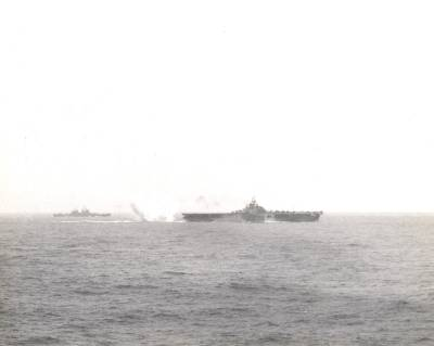 Taken from USS Hornet (CV-12) on 6 Apr 1945