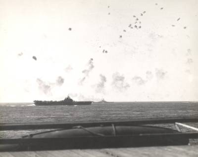 Taken from USS Hornet (CV-12) on 16 Apr 1945