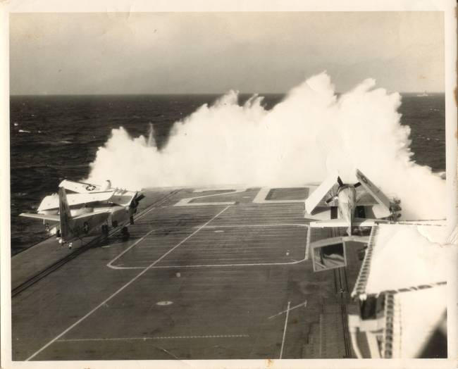 WATER OVER THE FLIGHT DECK