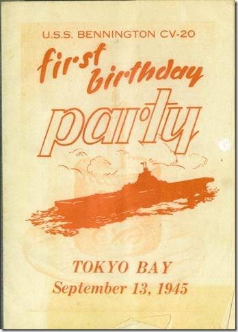 USS BENNINGTON CV 20 - FIRST BIRTHDAY PARTY - SETEMBER 13, 1945