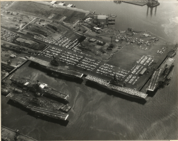 Five (5) Essex Class Carriers In Long Beach Harbor 8-2-1966
