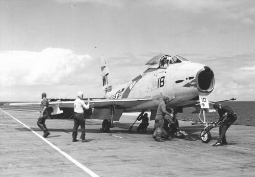FJ-4 VMF 232 On Catapult September 1958