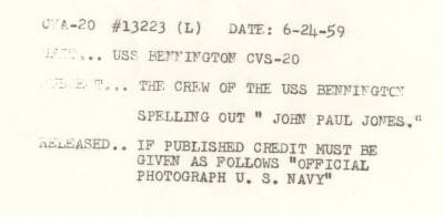 June 24, 1959<BR>SAN DIEGO<BR>Crew Spells<br>JOHN PAUL JONES<br>On Flight Deck