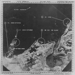 bombing target map from the strike on Kure