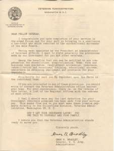 WAR YEARS VA Letter