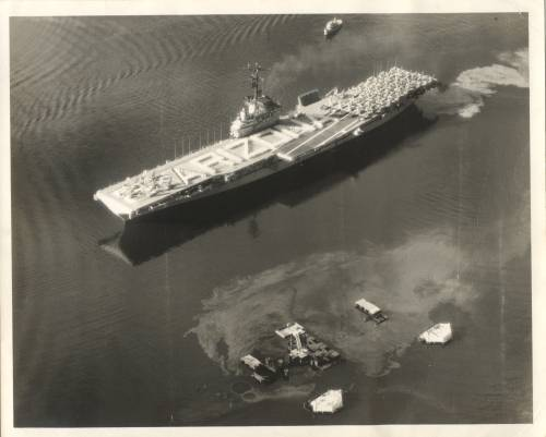 MAY 31, 1958 - USS BENNINGTON SALUTE TO USS ARIZONA