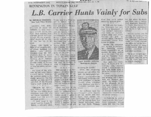 Long Beach Carrier Hunts Vainly For Subs -17 October 1968