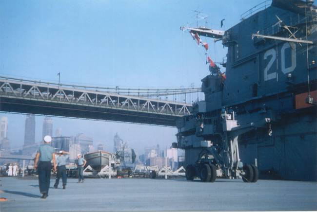 USS Bennington Under the Manhattan Bridge