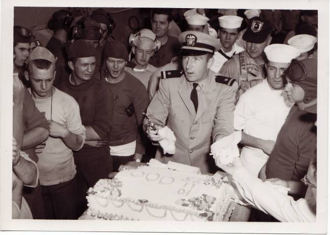 Flight-deck cake cutting ceremony