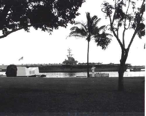 USS Bennington passing the Arizona Memorial 1965