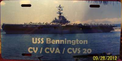 USS BENNINGTON LICENSE PLATE